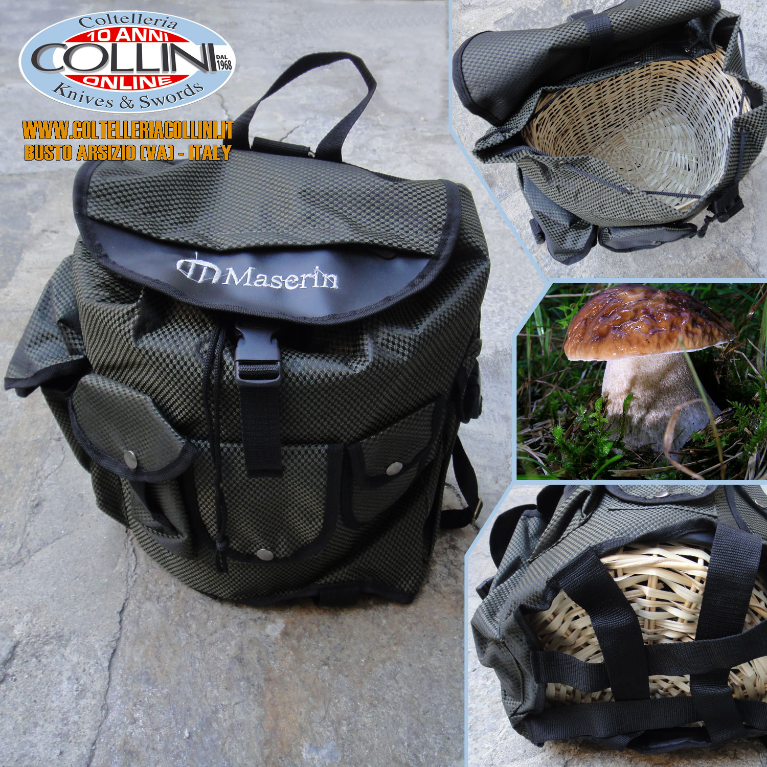 Wicker Basket Backpack : Maserin backpack for mushrooms in green nylon with wicker