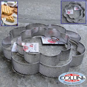 Decora - Stainless steel perforated FLOWER shape - cm 24 x 24 x 3, 5h - CROSTATE