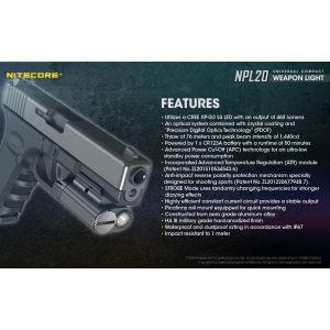 Nitecore - NPL10 - 240 lumens e 92 metri - Torcia LED per pistola