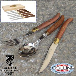 Claude Dozorme Laguiole - Set 18 pezzi tavola in legno esotico