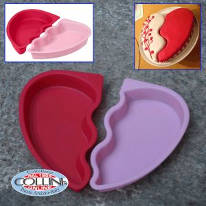 Wilton - mold silicone broken heart - 2 pieces