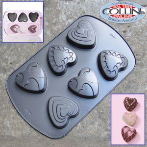Wilton - Six Hole Decorated Heart Mini Cake Tin