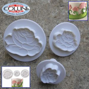 Pavoni - Cookie cutter mold with Flowers ejector - 3 pcs. Rose