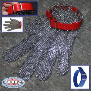 Friedrich Munch - Guanto Niroflex Easyfit in acciaio - misura M - cinturino rosso