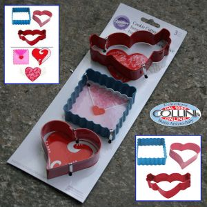 Wilton - 3 pieces cutter - heart with wings - envelope - heart