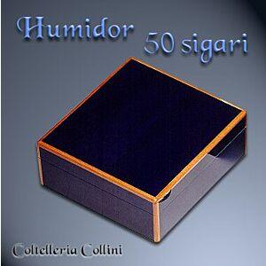 Humidor per sigari in legno tinto blu