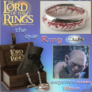 Lord of the Rings, Anello del potere in argento 18mm, inc. Rossa