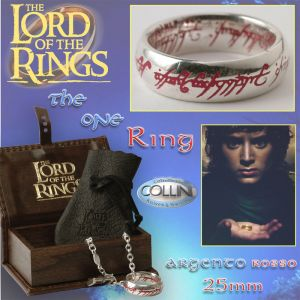 Lord of the Rings, Anello del potere in argento 22mm, inc. Rossa
