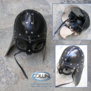 Museum Replica Windlass - Leather Viking Helmet - elmo in cuoio