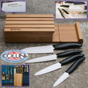Kyocera  - Set 4 coltelli lama ceramica bianca con ceppo bamboo porta coltelli