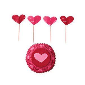 Wilton - Cupcake Decorating Set - Set Pirottini San Valentino 48 pezzi