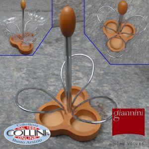 Giannini - Porta posate da tavolo acciaio e legno di pero - Linea Nuvola