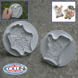 Made in Italy - Kit 2 cutters with ejector Harlequin and Pulcinella, with stencils