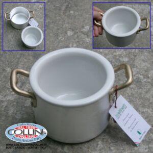 Made in Italy - Pentola 2 maniglie in alluminio con ciotola ceramica cm. 10