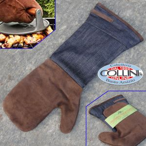 Made in Italy - Set grill apron and glove in suede leather -BBQ