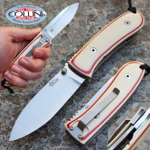 Bob Dozier - DH-SK - Westinghouse White Paper Micarta with Red Lines - coltello custom