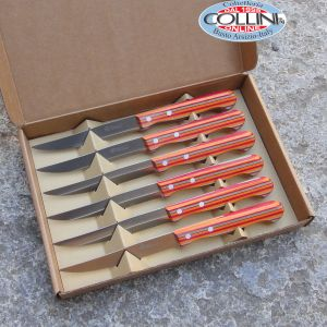 Maserin - Steak knife - Set coltelli bistecca liscio in pioppo multistrato color rosso