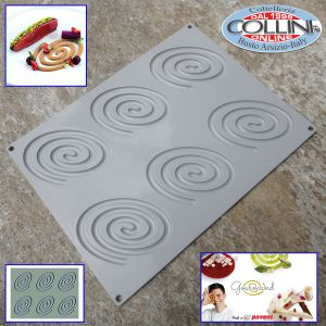 Pavoni - GG010 Silicone Oval Spiral Decoration Mold, 6 cavities