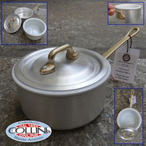Made in Italy - Casserole with handle and lid in aluminum with ceramic bowl cm. 12 - LE PICCOLE