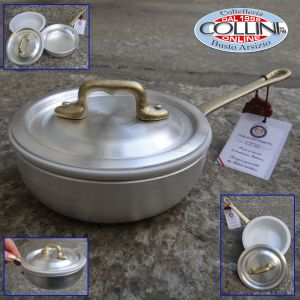 Made in Italy - Small pan with handle and lid in aluminum with ceramic bowl cm. 12