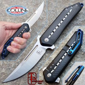Begg Knives - Kwaiken Frame Lock Carbon Fiber Inlays Blue Anodization - Steelcraft - Knife