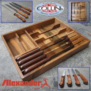 Alexander - Walnut box with 4 kitchen knives