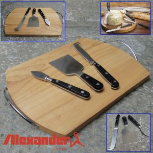 Alexander - Set of 3 forged cheese knives with a chopping board