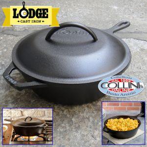 Lodge - 3.2 Quart Cast Iron Covered Deep Skillet