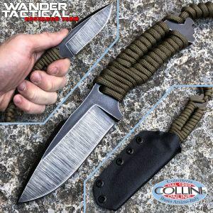 Wander Tactical - Raptor Raw Finish knife - OD green Paracord - craft knife