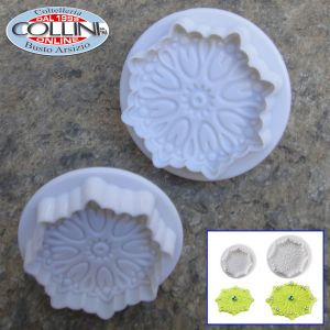 Pavoni - Baroque expulsion mold round 2 pcs. 45/60 mm - NO 3006