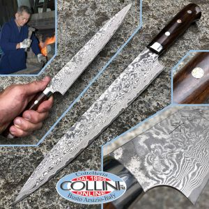 Takeshi Saji - Sujihiki Knife 240mm with Desert Ironwood Handle - SPG2 Damascus - kitchen knife