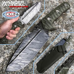 Wander Tactical - Uro - Ice Brush Tiger knife and Green Micarta - craft knife