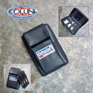Datadart - Custodia porta 2 Set freccette con tasca esterna e porta accessori  - pelle nera