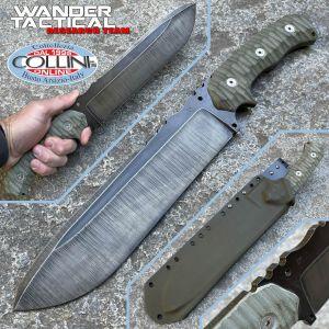 Wander Tactical - Godfather knife - Raw Finish & Green Micarta - custom knife
