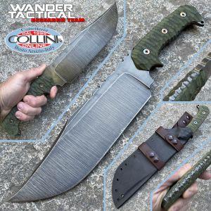Wander Tactical - Drago The Beast knife - Raw Finish & Green Micarta - custom knife