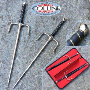 No Brand - Coppia di Sai  in acciaio a sezione ottagonale con borsa