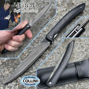 Takeshi Saji - Black Damascus Steak knife - SPG2 Damascus and Micarta - handmade knife