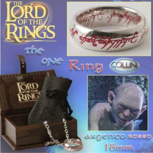 Lord of the Rings - Anello del potere in argento 18mm inc. Rossa - R221/P - Il Signore degli Anelli