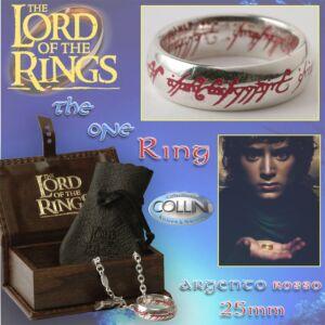 Lord of the Rings - Anello del potere in argento 22mm inc. Rossa - R221.40 - Il Signore degli Anelli