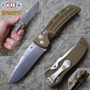 "Hogue - EX-01 4"" Folding Drop Point Stonewash - Aluminum Matte OD Green coltello"
