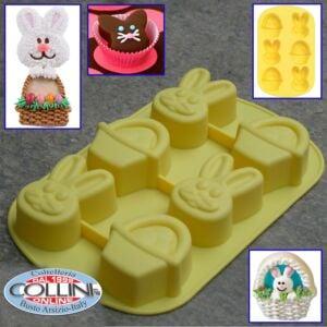Wilton - Stampo in silicone 6 cavità coniglio-cestino   - Bunny  - Basket