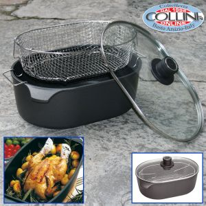 Woll - Oval roasting pan with  basket and glass lid
