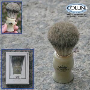 Mondial - Pennello da barba in pelo di tasso - Bianco - Piccolo 602