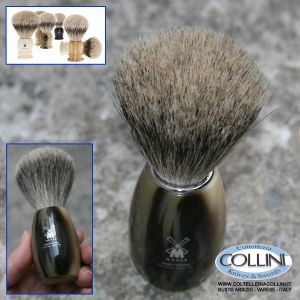 Muhle - Shaving brush from , pure badger, handle material high-grade resin horn brown