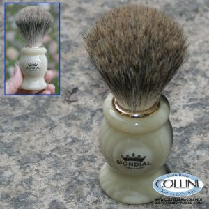 Mondial - Pennello da barba in pelo di tasso - Bianco - Grande 604