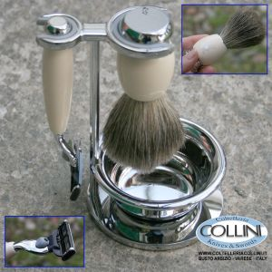 Muhle - VIVO - Shaving set with Gillette® Mach3®, handle material made of high-grade resin ivory
