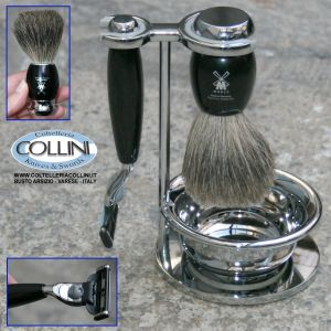 Muhle - VIVO - Shaving set with Gillette® Mach3®, handle material made of high-grade resin black