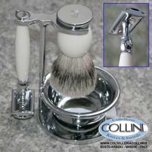 Muhle - Set da barba 4pz Sophist con ciotola -  manico color avorio