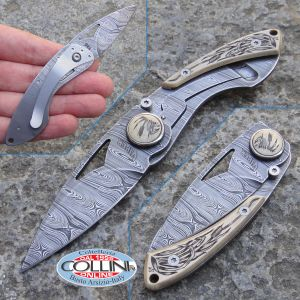 Viper - Slim Damascus and Fossil Ivory incision in hand - VA5353CB - knife
