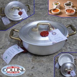Made in Italy - Aluminum pan with 2 handles with ceramic bowl cm. 14 of the Italian Civil Code - THE SMALL